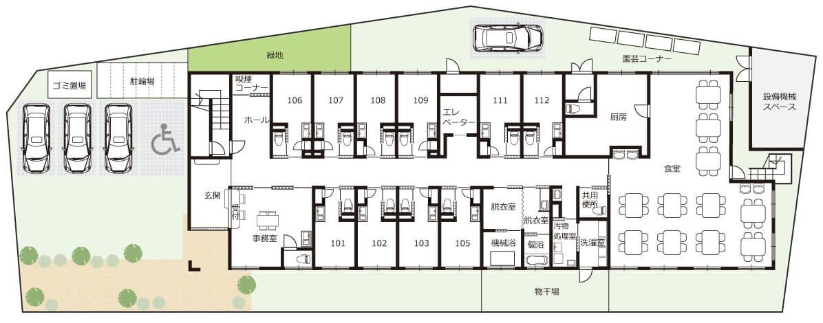 ちよの里施設概要見取り図1階