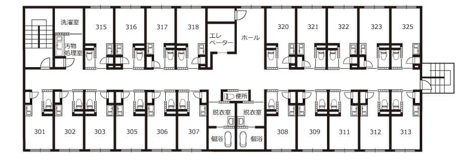 ちよの里施設概要見取り図3階